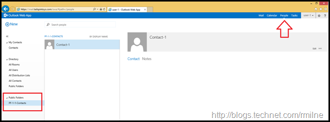 Contact Public Folder Favourite Visible In OWA
