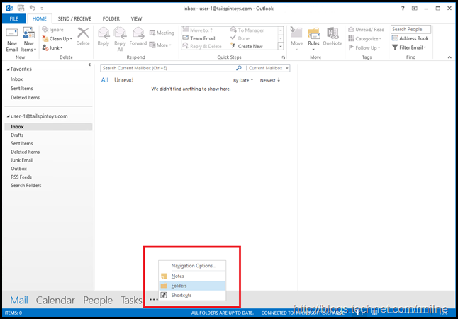 Switching to Outlook Folders View