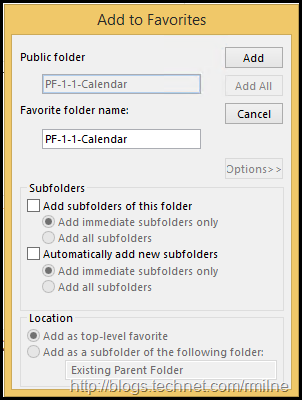 Adding Public Folder As A Favourite In Outlook - Options
