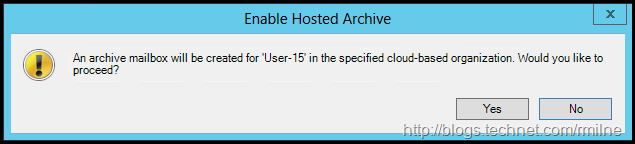 Enable Remote Archive In Exchange 2010 Management Console - Confirmation Prompt