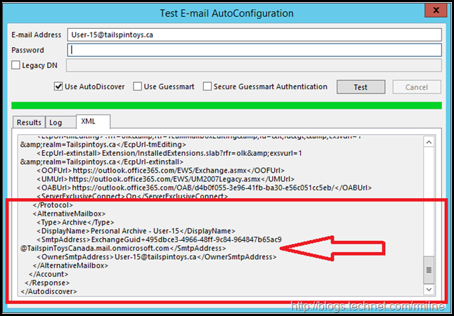 Outlook 2013 Autodiscover Showing Remote Mailbox Settings