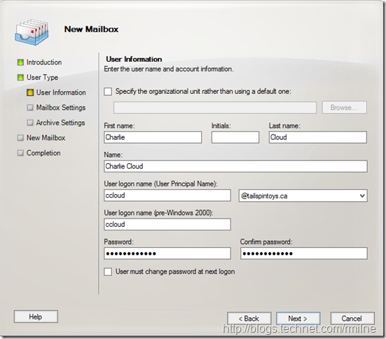 Creating New On-Premises Mailbox To Directly Create Archive In Office 365