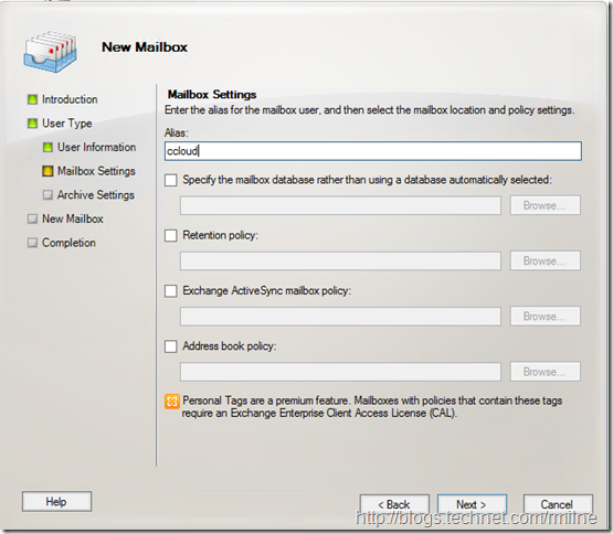 Creating New On-Premises Mailbox To Directly Create Archive In Office 365 - Default Mailbox Settings