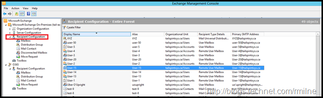 Exchange 2010 View On-Premises Mailboxes And Cloud Mailboxes