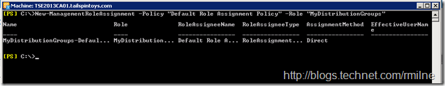 Adding MyDistributionGroups To Default Role Assignment Policy