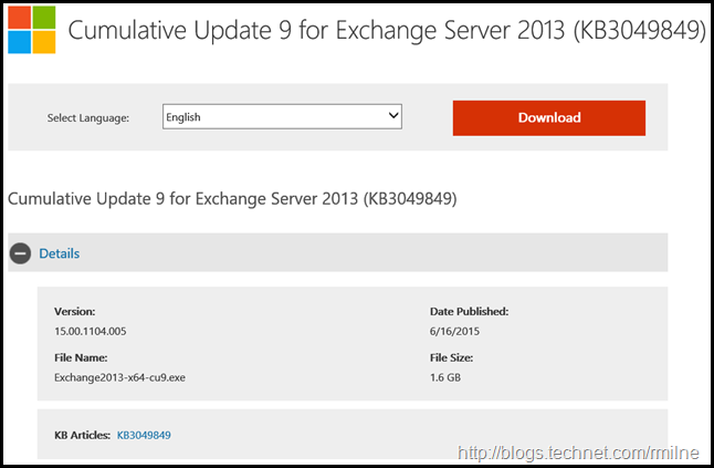 Exchange 2013 CU9 Download