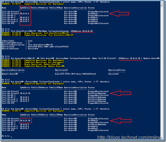 Using Microsoft Azure PowerShell To Change Static IP Address Of Running VM