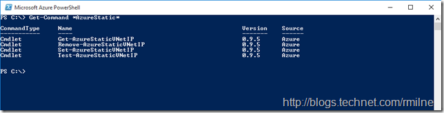 Microsoft Azure PowerShell Static IP Cmdlets For VMs