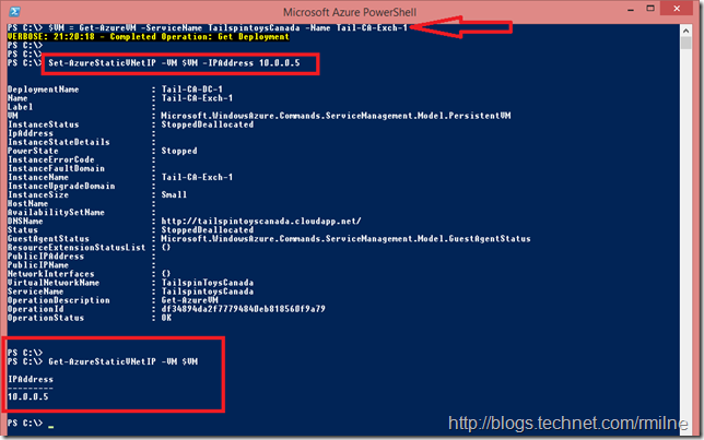 Trying To Static IP Address Using Microsoft Azure PowerShell
