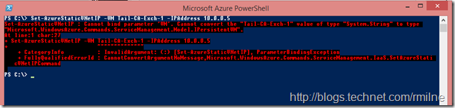 Using Set-AzureStaticVNetIP Fails To Configure VMs Static IP