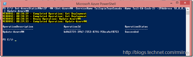 Setting Static IP Address Using Microsoft Azure PowerShell - Note Update-AzureVM Is Used