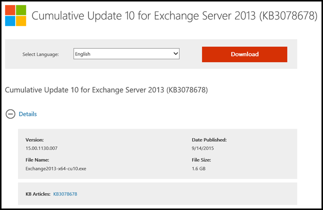 Exchange 2013 CU10 Download