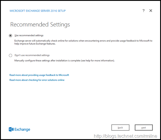 Starting Exchange 2016 Setup - Recommended Settings