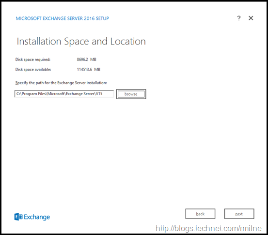 Starting Exchange 2016 Setup - Install Location