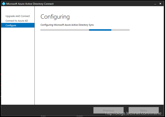 Azure AD Connect Express Install Upgrade - Configuring