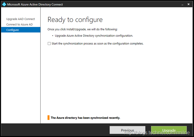Upgrading Azure AD Connect Express Install  Configuration Upgrade.  Beware The Check Box