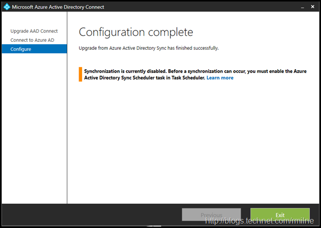 Azure AD Connect Express Install Upgrade - Configuration Complete