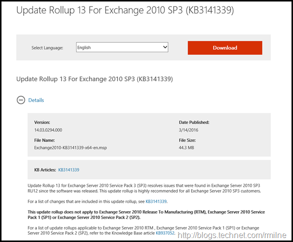 Exchange 2010 SP3 RU13 Download