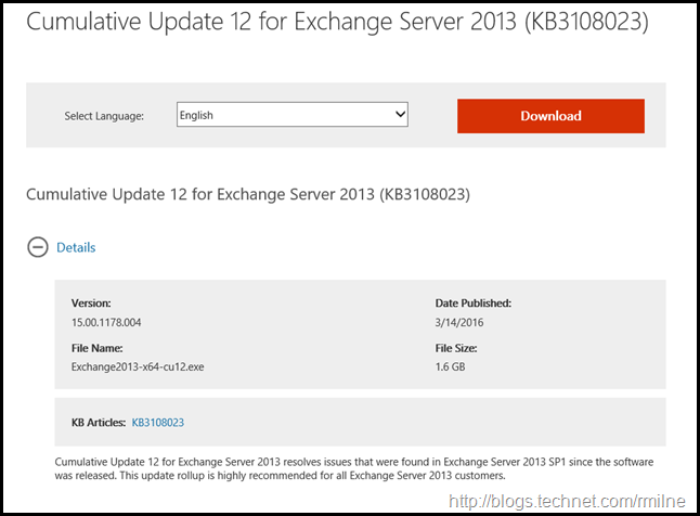 Exchange 2013 CU12 Download