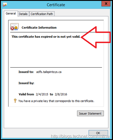 Oops - Expired ADFS Certificate