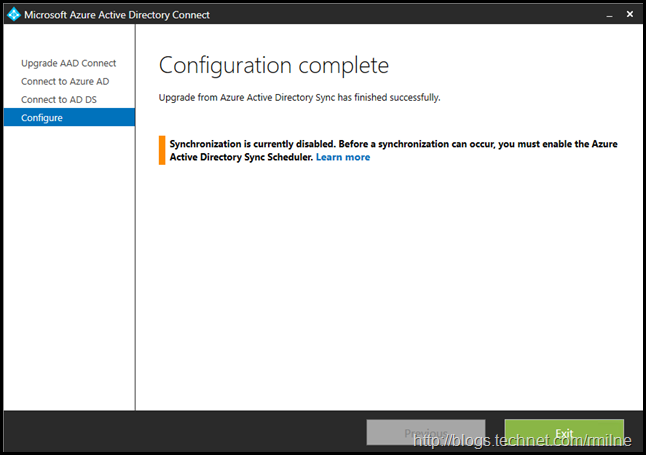 Upgrading Azure AD Connect Express Install Configuration Upgrade Completed