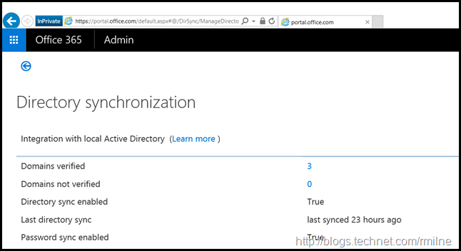 Directory Synchronisation Status In Office 365 Portal