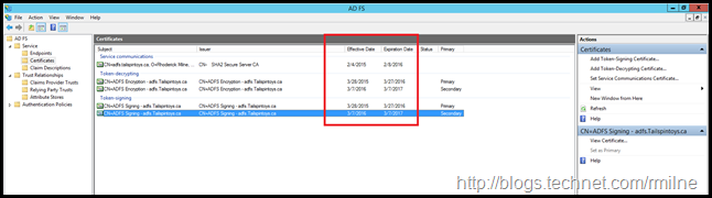 Viewing Certificate Expiration In ADFS Management Console