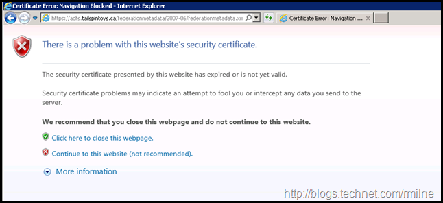 Expired ADFS Certificate - Error Accessing Certificate Metadata