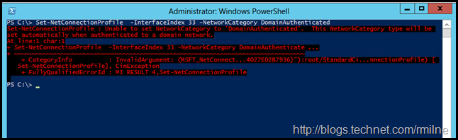 Attempting To Set DomainAuthenticated Network Category Using PowerShell