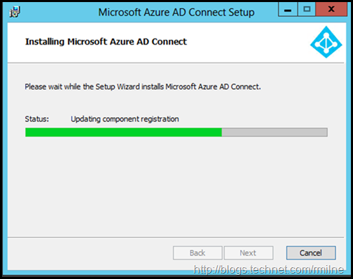 Launching Azure AD Connect Installer