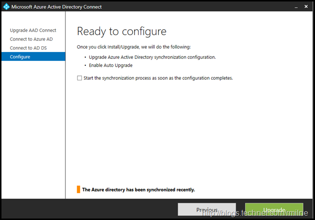 Upgrading Azure AD Connect Express Install Configuration Upgrade - Beware The Tick Box