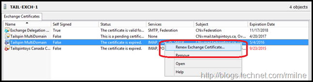 Exchange 2010 Management Console - Renew Certificate Management
