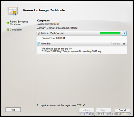 Exchange 2010 Renew Certificate Wizard - Certificate Signing Request File Created