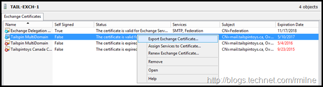Export Completed Certificate to PFX File