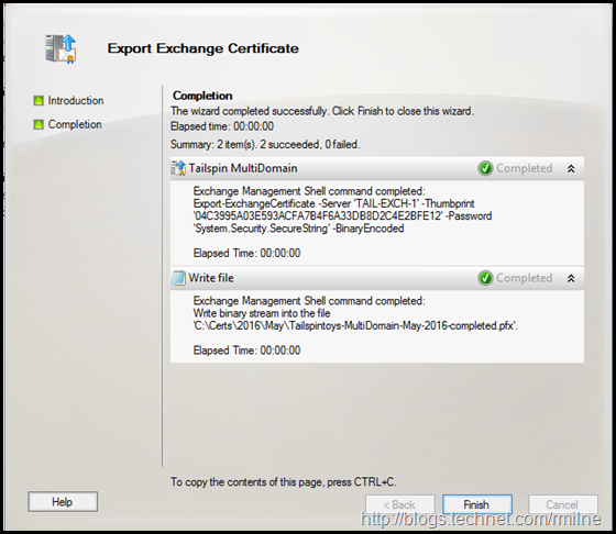 Exchange Management Console - Export Completed