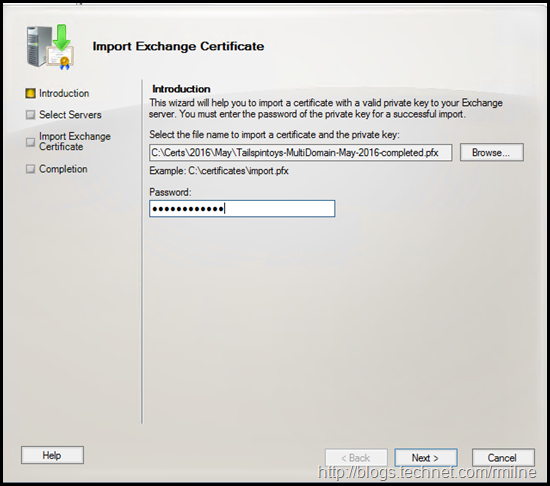 Exchange Management Console - Importing PFX File