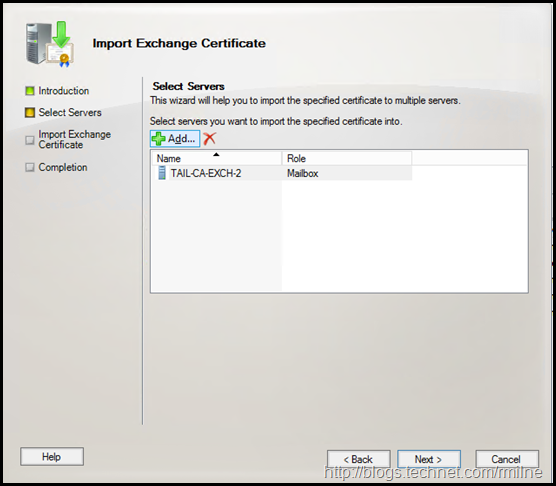 Exchange Management Console - Importing PFX File - Select Servers