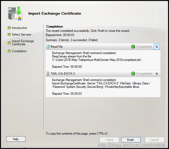 Exchange Management Console - Importing PFX File Completed