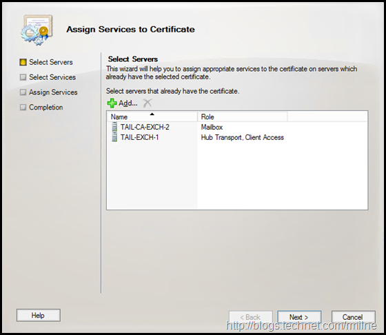 Exchange MMC - Assign Services To Certificate - Select Servers
