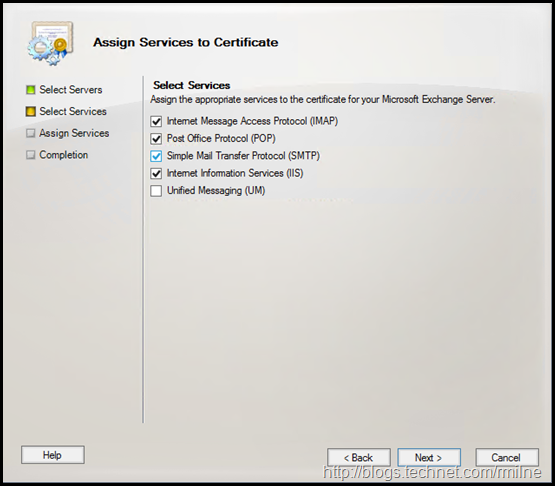 Exchange MMC - Assign Services To Certificate - Select Services