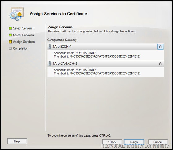 Exchange MMC - Assign Services To Certificate - Completed