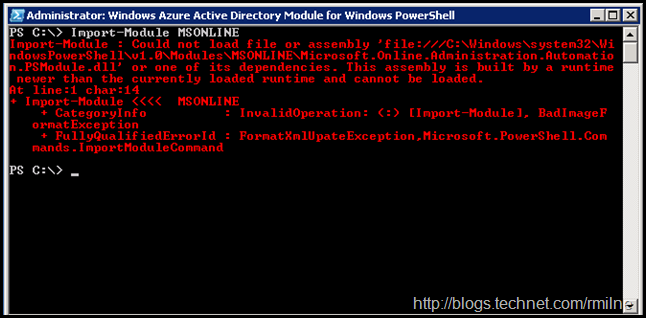Azure AD PowerShell Module - This assembly is built by a runtime newer than the currently loaded runtime and cannot be loaded