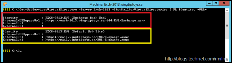 Example Of InternalNLBBypassURL Configuration - Highlighted to Show Different Web Sites