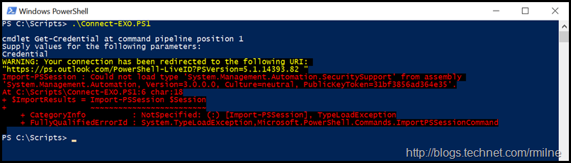 Connecting to Exchange Online Using Remote PowerShell - Could Not Import PSSession