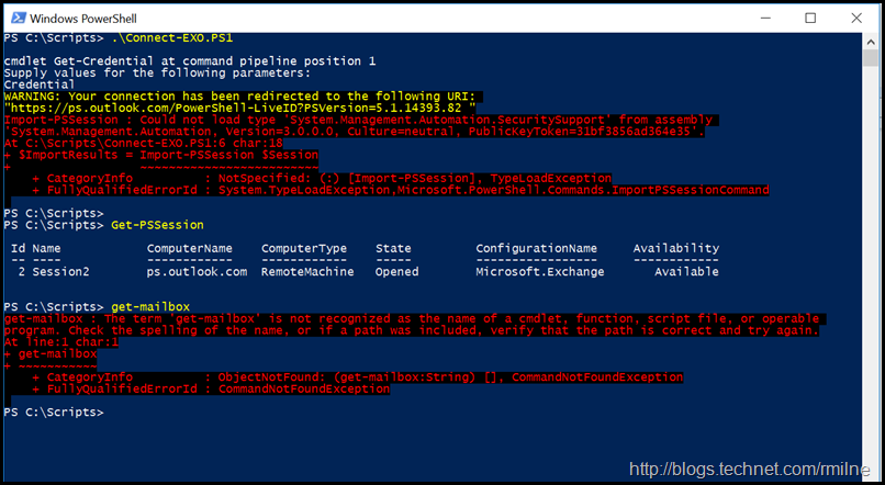 Connecting to Exchange Online Using Remote PowerShell - No Exchange Cmdlets
