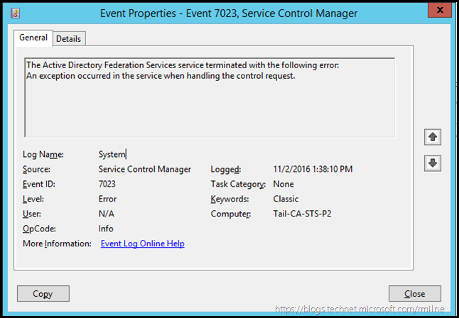 The Active Directory Federation Services service terminated with the following error