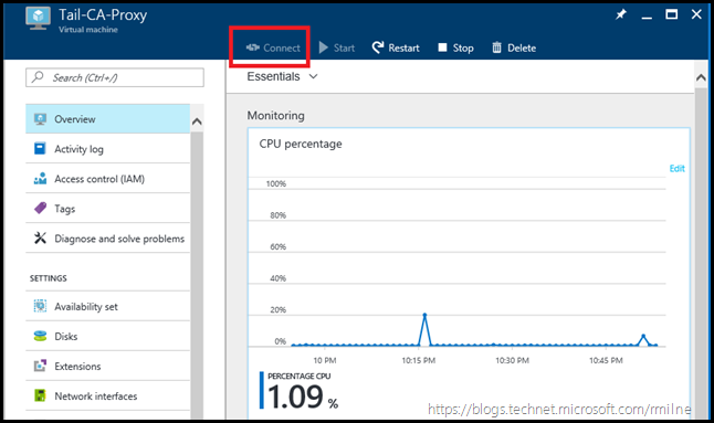 Azure VM Connect Greyed Out