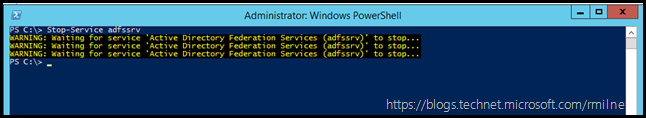 Stopping AD FS Service Using PowerShell