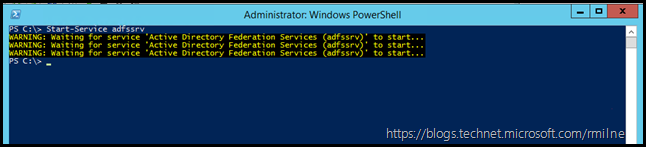 Starting AD FS Service Using PowerShell