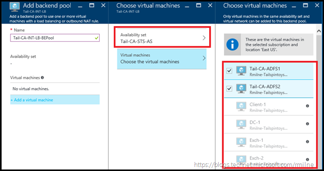 Azure AD FS Load Balancer - Add Back End Pool